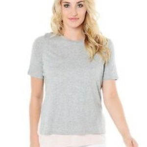 Vince Double Layer Colorblock T Shirt Grey/Pink